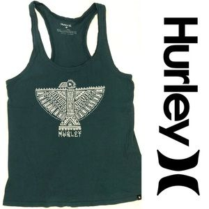 💎Hurley Tank Top Blue and White Bird Design Small